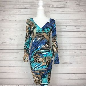 Cache Blue Mixed Animal Faux Wrap Dress